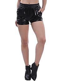 Women's Sexy Loose Leather Shiny Metallic Mini Sport Hot Shorts
