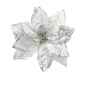 "Sweet Home Deco 9""W Silk Shinning Sprakled Poinsettia Artificial Flower Heads (Set of 5) Christmas Decorations (Silver-2016NEW)"