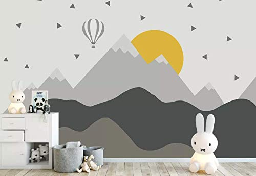 Murwall Kids Mountain Wallpaper Nursery Hot Air Balloon Wall Murals Child Landscape Reusable Wall Art Baby Room Wall Decor Boys Bedroom Girls ()