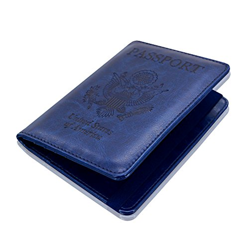 ACdream Travel Leather RFID Blocking Case Wallet for Passport with Elastic Band Closure Passport Holder Cover Dark Blue