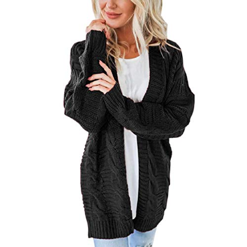 Long Sleeve Sweater Coats Pure Color Tops for Women Braid-Knitted Winter Basic Cardigan Simple Jackets Gifts Choices Black