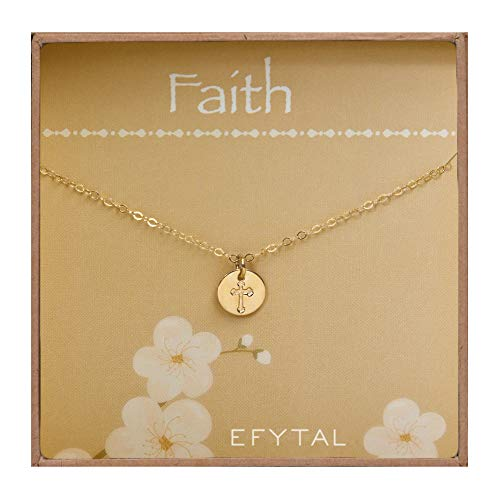 (EFYTAL Tiny Gold Filled Faith Cross Necklace, Small Simple Dainty Disc Pendant, First Communion Gift for Girls and Women)