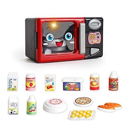 JEJA Pretend Juego de Cocina para niños de - Horno de microondas eléctrico con Juego de Cocina Play Food Sonidos y Luces a batería Regalo para niños ...