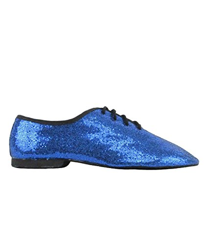 So Danca Jazzschuhe Glanz-Spinnstoff, Latein Salsa Rumba Tango Tanz Schuhe JZ79 ganze Chromledersohle Blau