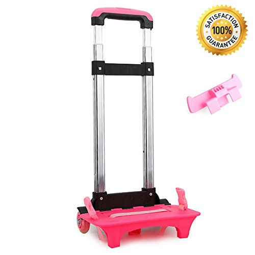 Wheeled Trolley Hand Aluminium Alloy Folding Trolley Cart for Backpack (Pink, 2 Wheels) by UEK