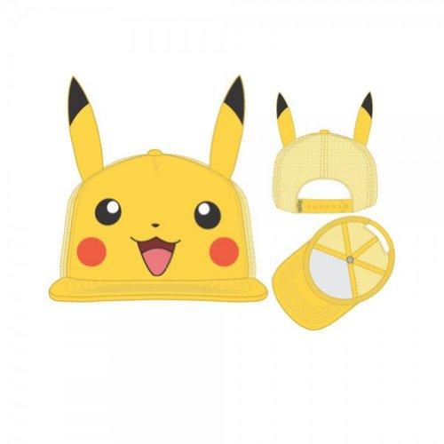 Pokemon Hats (bioWorld Pokémon Pikachu Big Face with Ears Hat, One Size)