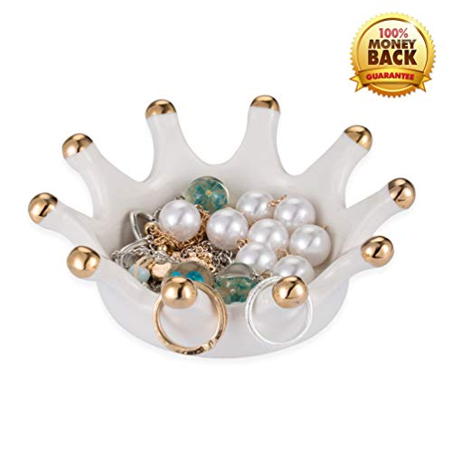 YINTRADE Jewelry Ring Holder, Ceramic Crown Ring Holder Dish, Earring Necklace Bracelets Holder, Home Room Decor Dish Organizer Jewelry Trinket Trays for Girls Women Ladies (Royal Crown Jewelry Display)
