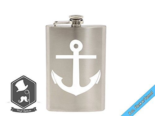 Nautical Sailing Boat Anchor Art 8 OZ Hand-made Etched Stainless Steel Hip Flask with Funnel