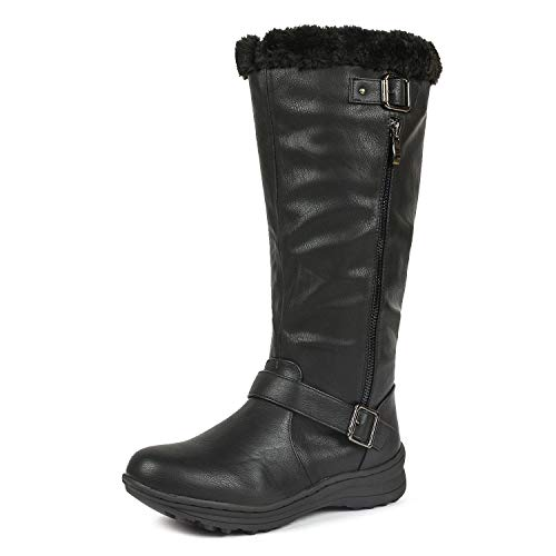 DREAM PAIRS Rabbit Women's Lady Winter Fully Fur Lined Double Buckle Ruched Snow Knee High Boots Black Pu Size 9.5 Wide Calf