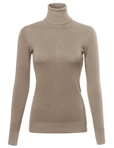 Made by Emma Basic Lightweight Ribbed Turtleneck Sweater Top Mocha S