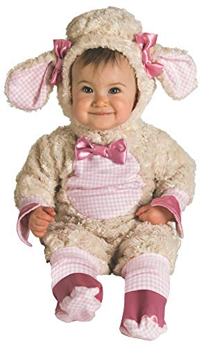 Rubie's Baby-girls Infant Noah Ark Collection Lucky Lil Lamb Costume, Beige/Pink, 0-6 - Fabric Flannel Licensed