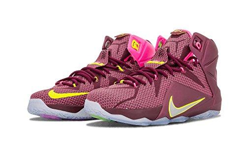 Nike LeBron XII Herren Basketballschuhe Merlot, Mtllc Silber-vlt-pnk Pw