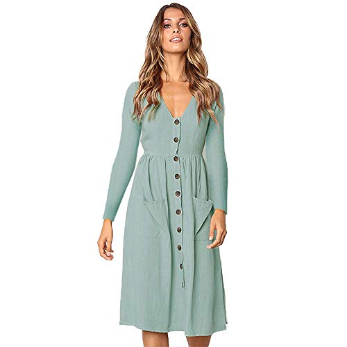 ZOLLOR Women's Upgrade Casual Openable Chest V Neck Short Sleeve Button Down Summer Beach Midi Dress Pockets(S,Blue3) for $<!--$16.49-->