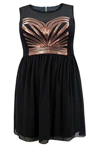 Curvylicious Women'sPlus Size Dress Sequin Trim Sleeveless Zip Fastening Chiffon