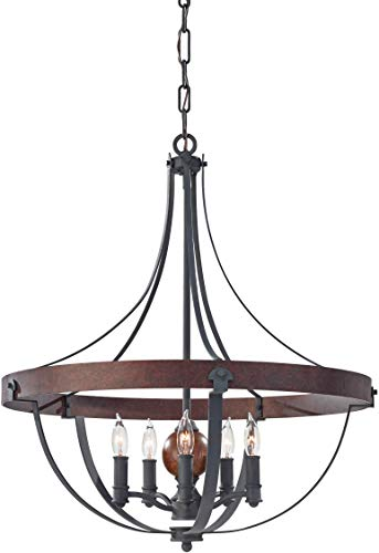 Feiss F2794/5AF/CBA Alston Candle Chandelier Lighting, Iron, 5-Light (24