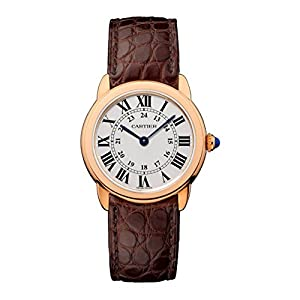 Cartier Mujer 28mm marrón Alligator Piel Banda Chapado en Oro Rosa, Swiss analógico de Cuarzo Reloj W6701007 3