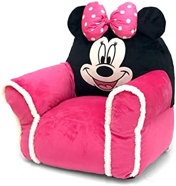 Minnie Mouse Figural Bean Bag Chair with Sherpa Trim