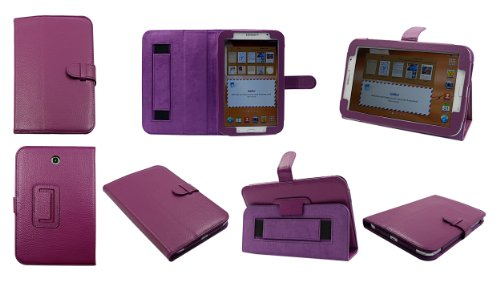 Bear Motion 100% Genuine Leather Case for Samsung Galaxy Note 8.0 GT-N5100 Wifi 4G LTE - SD (Note 8.0, Purple)