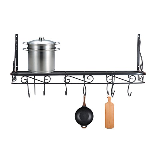 Wall Mounted Pots and Pans Rack. Pot Holders Wall Shelves with 12 Hooks. Kitchen Shelves Wall Mounted with Wall Hooks. Kitchen Storage Pot Holder Pot Rack. Pot Pan Organizer. Pot Pan Rack by URANMOLE