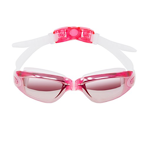 Mirror Swimming Goggles- Anti-Fog, UV Protection, Leak Proof,Shatterproof,-Crystal Clear Vision with Adjustable Strap, Nose Clip, Ear Plugs - Comfortable Fit For Men, Women, Youth, (Goggle Skin Mirror)