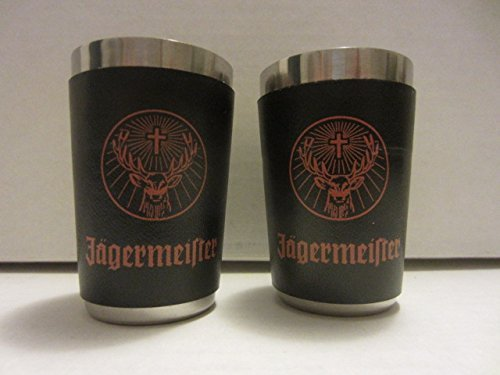 Jagermeister Liqueur - Set of 4 Jagermeister Krauter Liqueur Orange Stag & Cross Logo Stainless Steel Metal Shot Glasses