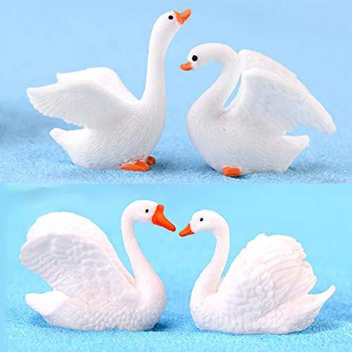 Swan Bird Figurine - Smilesky Miniature Swan Figure Animal Bird Toys Miniature Landscape Fairy Garden Decorations Ornament Resin Craft White (Pack of 4)