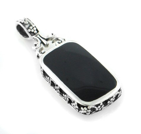 Simulated Black Onyx and Simulated Turquoise Reversible Sterling Silver Slide Pendant (Silver Slide Pendant)