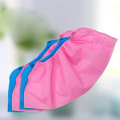 Hurrybuy 100 Pack (50 Pairs) Disposable Boot & Shoe Covers - Durable, Water Resistant, Non-Slip,Dust-Proof,Recyclable Pink: Clothing