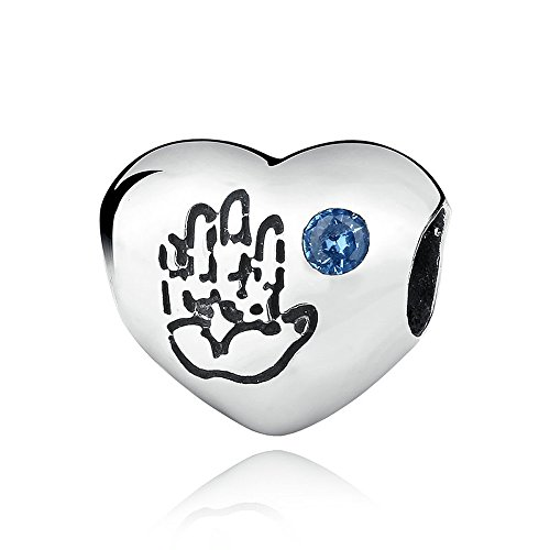 Everbling Baby Handprint Heart with Blue CZ 925 Sterling Silver Bead Fits European Charm Bracelet