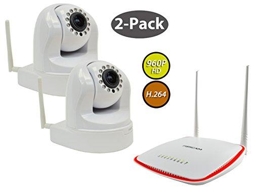 2-Pack Foscam FI9826W White 3x Optical Zoom 1.3 MP (960P) WiFi IP Camera & FR305 WiFi Router/Repeater Bundle, (Foscam Fi9821w V2 Hd Ip)