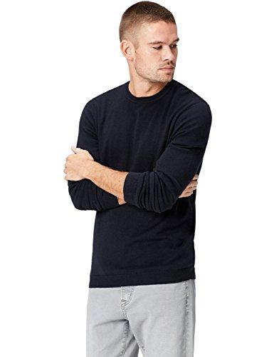 Find Merino Neck Uomo Crew schwarz Nero Felpa Wool Mix rrqOxw6A