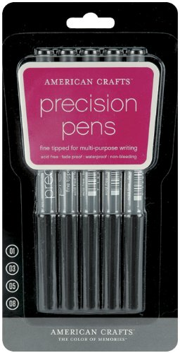 Precision Pens 5/Pkg-Black American Crafts Precision Pen