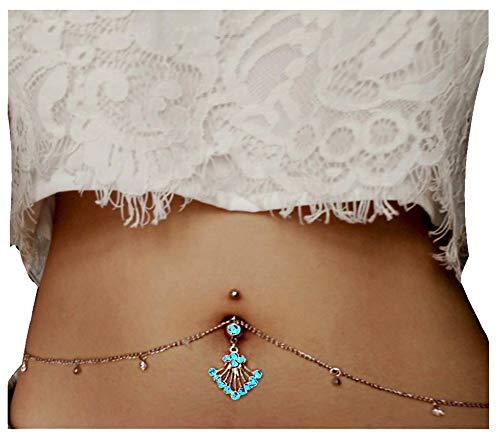 (MayFee Women Sexy Rhinestone Piercing Bar Body Jewelry Boho Waist Chain Belt Belly Button Ring)