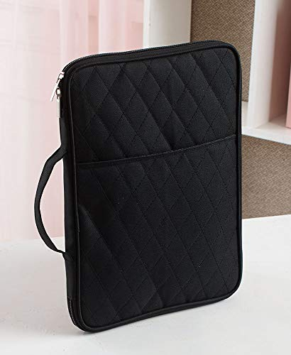 School Organizer for Tablets, Supplies - Fits iPad Air, Pro, Mini - Black Quilted