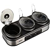 Triple Slow Cooker with Non-Skid Feet, Stainless Steel, 3 × 1.5 Quart Manual, Silver