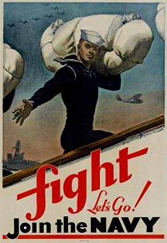 Fight Lets Go Join The Navy WPA Propaganda Poster 24x36 inch