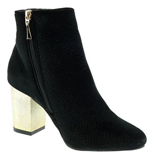 Booty Snakeskin 7 5 Ankle Fashion Heel Cavalier Shoes Angkorly Boots Biker Black Block Golden CM High Women's OqTp8WBF