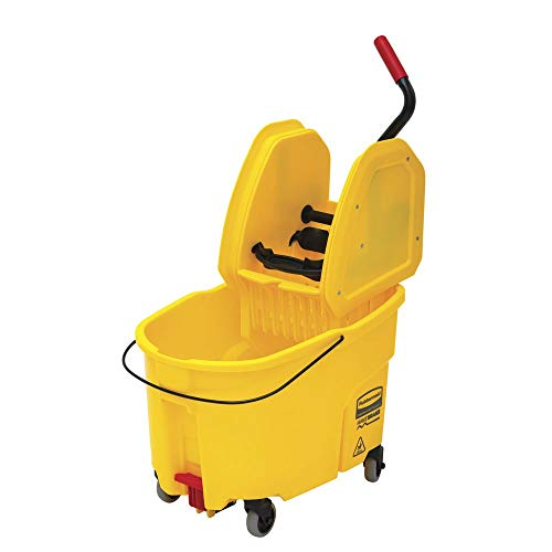Rubbermaid 44 qt Yellow Plastic WaveBrake Mop Bucket with Down Press Wringer