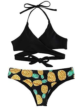 SweatyRocks Women's Sexy V Neck Pineapple Print Front Cross Back Knot Halter Swimsuit Bikini Black S