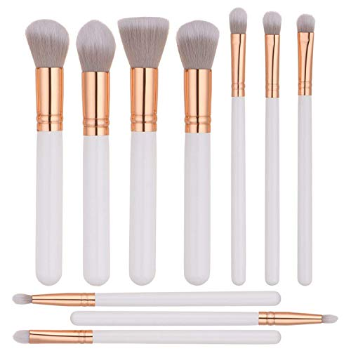 ITME [Upgrade Version Premium Makeup Brush Set Synthetic Cosmetics Professional Wooden Handle Brush, Flat Head, Blush, Flame, Concealer, Eye Shadow, Nose, Lip Brush Makeup Brush Kit (10pcs, White)