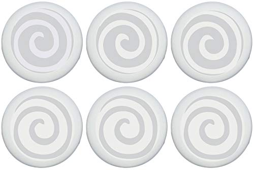 Gray Swirly Spiral Polka Dot Drawer Knobs/Grey Whimsical Swirls Ceramic Cabinet Pulls for Nursery or Children