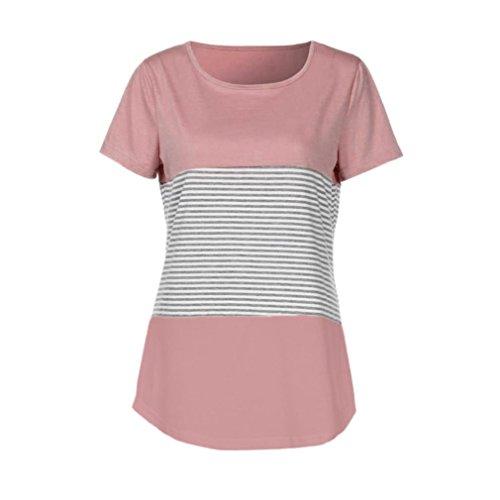 YJYDADA Women Short Sleeve Triple Color Block Stripe T-shirt Casual Blouse (Pink, S) ()