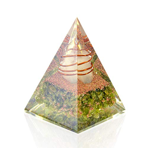 (Orgone Pyramid - Peridot Heart Chakra Healing Orgone Energy Generator - Orgonite Nubian Pyramid for Emf Protection - Detoxification Mind Meditation Stress Reduce)