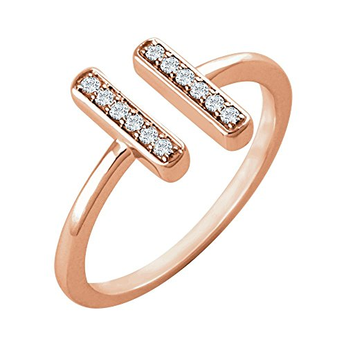 14k Rose Gold 0.1 Dwt Diamond Bar Ring - Size 6.5 ()