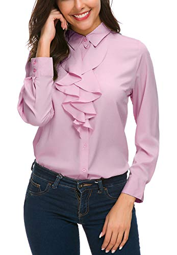 ACONIYA Womens Vintage Long Sleeve Lotus Ruffled Casual Work Shirt Chiffon Blouse ()