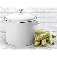 Deals on Cuisinart EOS166-30W Enamel Stockpot with Cover, 16-Quart