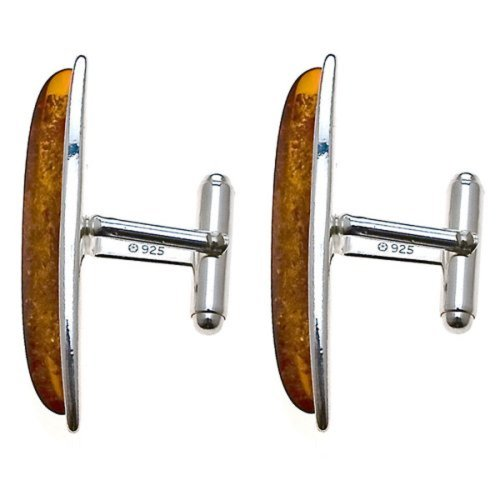 Honey Amber Sterling Silver Wave Collection Marquise Fashion Cufflinks ()