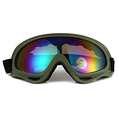 Motorcycle Goggles UV Protective Outdoor Glasses Adjustable Anti-dust Anti-fog Snow Goggles Airsoft CS Military Tactical Eyewear Sport Glasses for Eye Protection (Camo Green Frame+ Colorful Lens)