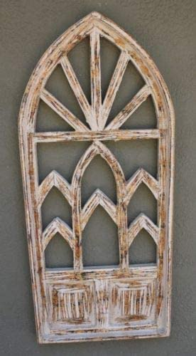 "Wooden Antique Style Church WINDOW Frame Primitive Wood Gothic 32 1//4/"" Shabby"