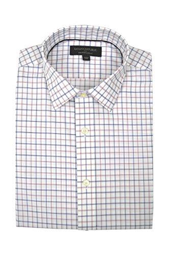 - Banana Republic Mens Slim-Fit Non-Iron Button Down Shirt White Pink Plaid (Small)